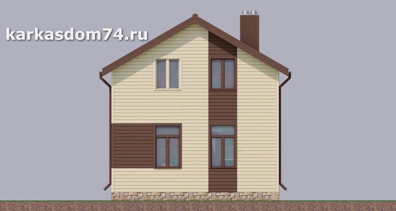 Западный фасад каркасного дома проект
