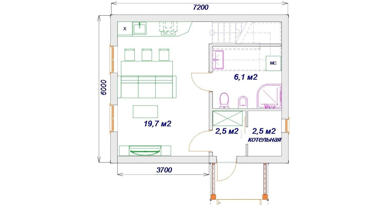 План первого этажа каркасного дома проект