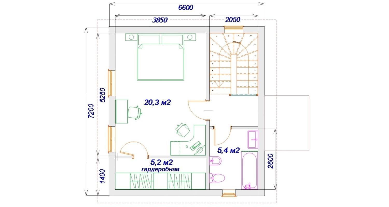 План второго этажа каркасного дома проект